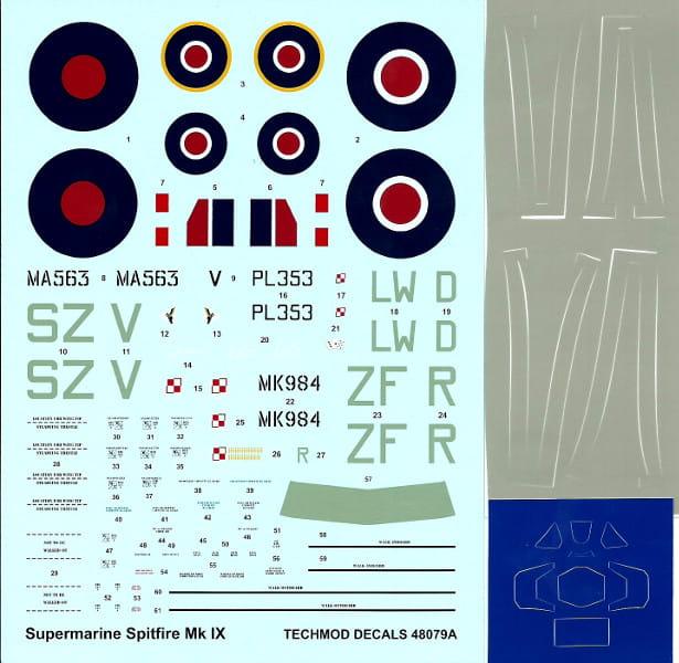 1:48 Kalkomanie Supermarine SPITFIRE Mk IX + maski - techmod 48079